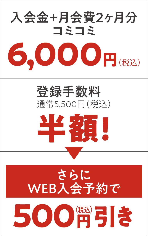 入会金+月会費コミコミ6000円