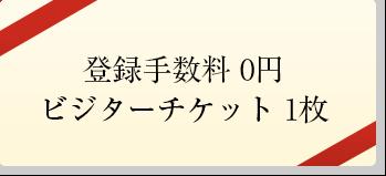登録手数料0円、ビジターチケット×1枚