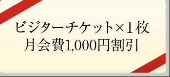 ビジターチケット×1枚、月会費1,000円割引
